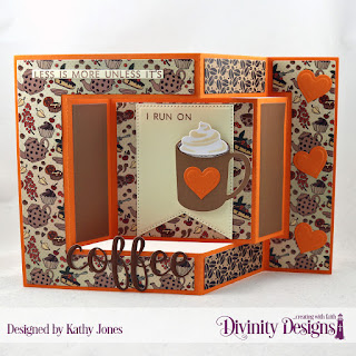 Stamp/Die Duos: Perk Up, Cocoa & Coffee, Custom Dies: Sentiment Strips, Tri-Fold Card with Layers, Large Banners, Paper Collection: Latte Love