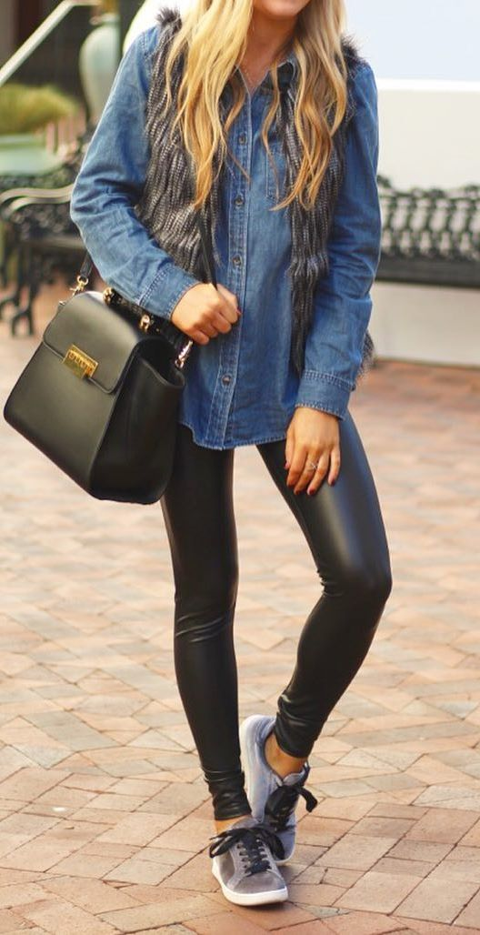 what to wear with a denim shirt : bag + black leather skinnies + sneakers
