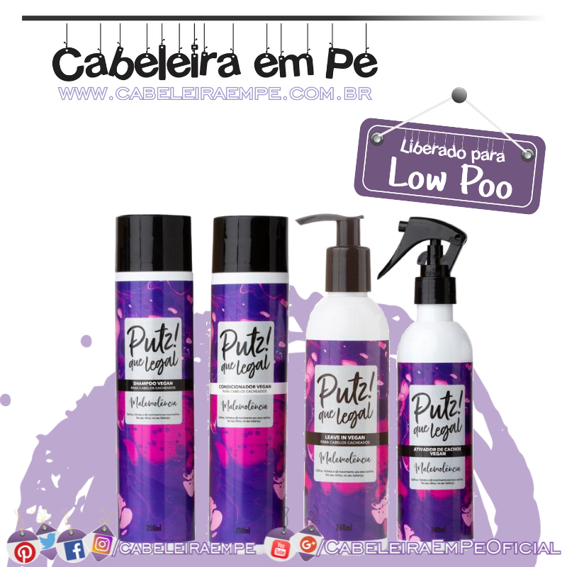 Shampoo, Condicionador, Leave in e Ativador de Cachos Malemolência - Putz! Que Legal (Low Poo)