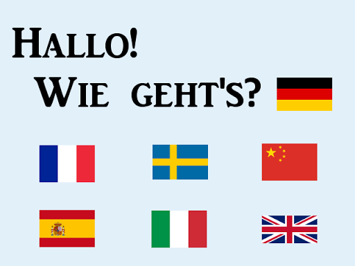 A background written Hallo! Wie geht's? With the Germany, Italy, France, China, Spain, Sweden and UK flags.