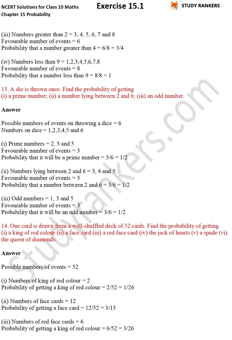 NCERT Solutions for Class 10 Maths Chapter 15 Probability Exercise 15.1 Part 5