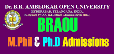 BRAOU M phil & Phd notification 2020-2021 ambedkar university