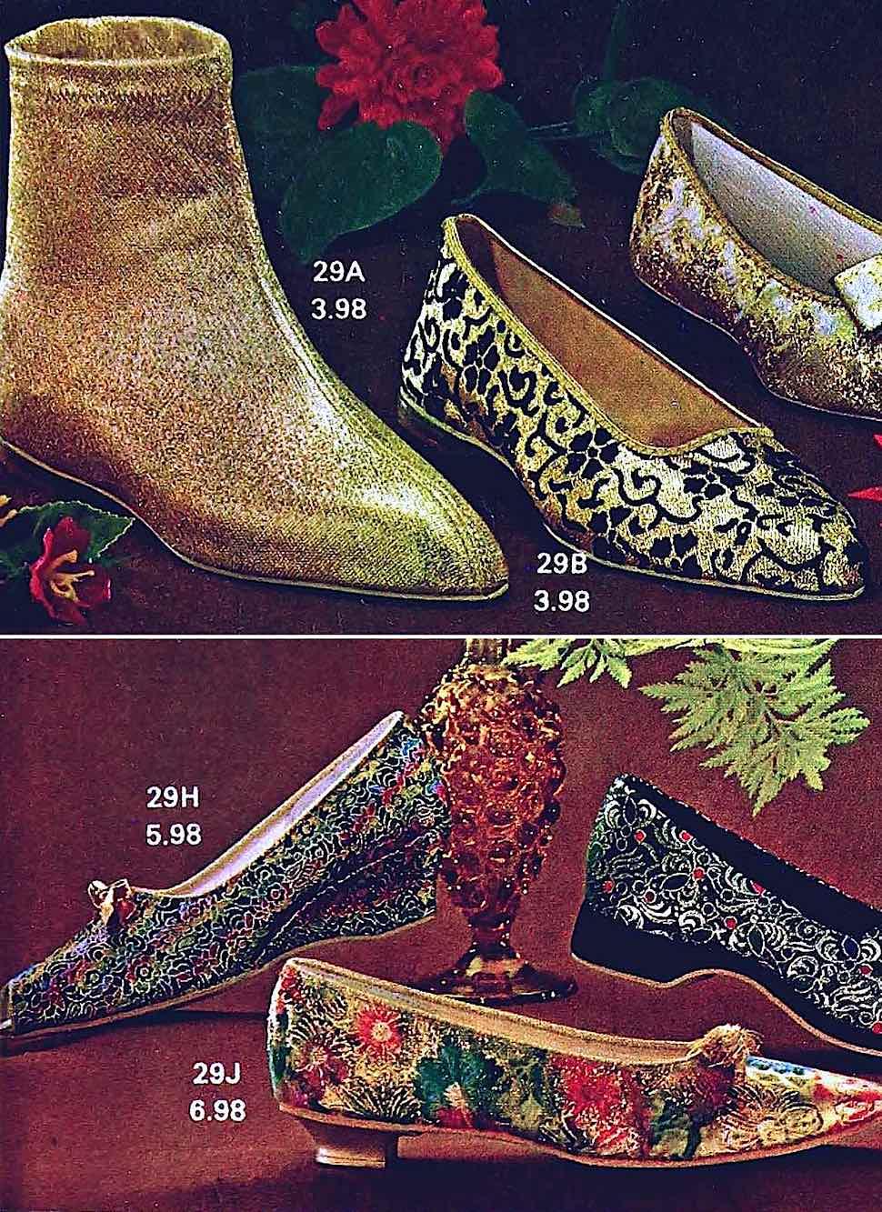 1960s women's footwear in gold