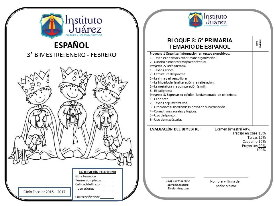 Instituto Juárez 5° Primaria: Portadas y temarios de