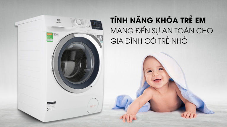 Máy giặt Electrolux EWF9024BDWB - Kiểm soát tầm tay trẻ với tính năng khóa an toàn