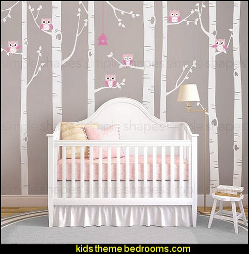 Birch Tree with Owl Wall Decals