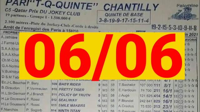 programme quinté+ Pronostic quinté+ dimanche 06/06/2021