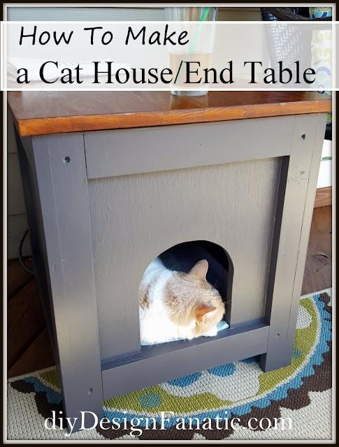 cat cave, cat house, cat house side table, side table, cottage, farmhouse, diy, diyDesignFanatic.com