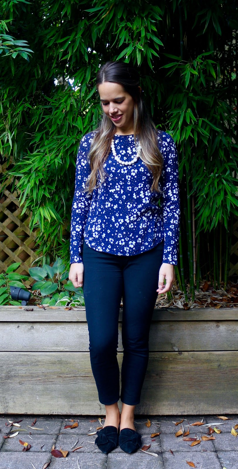 Jules in Flats - Floral Top with Mules (Business Casual Fall Workwear on a Budget)