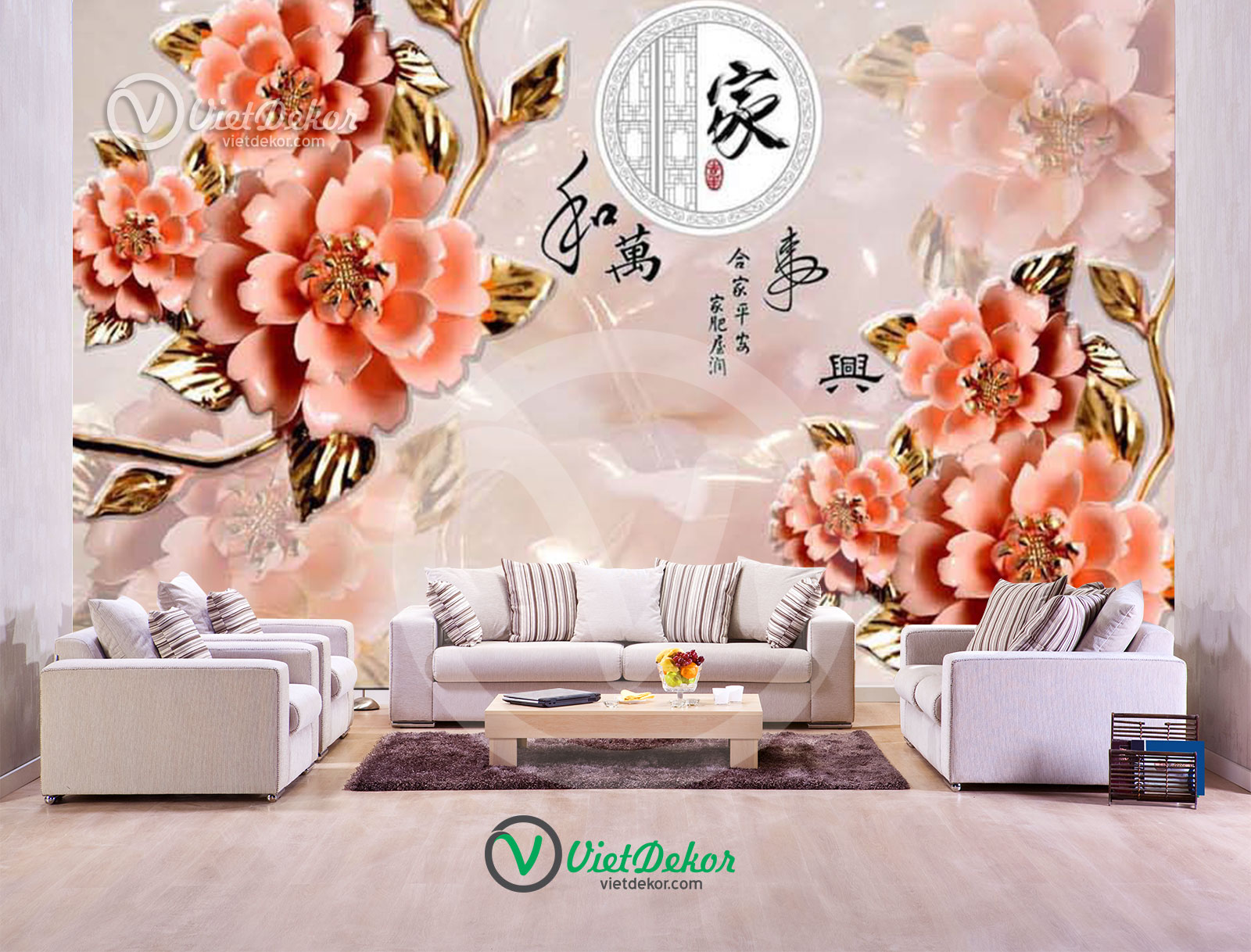 Tranh dán tường 3d hoa mẫu đơn ngọc phòng ngủ đẹp