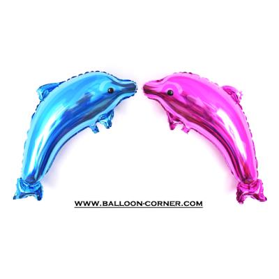 Balon Foil Dolphin Warna Biru & Pink