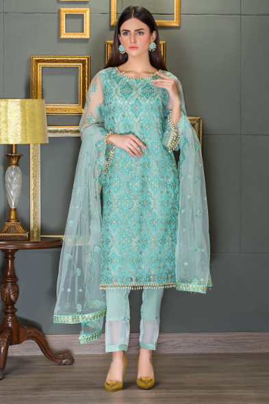 Taana Baana sale collection pistachio color poly net 2 pc suit