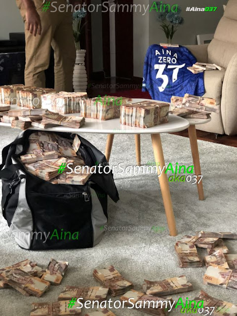 Kakamega tycoon, Mr Ssemi Aina, the young businessman, photos of money in his house