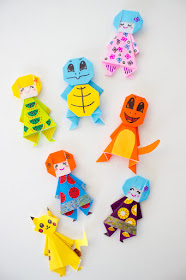 How to fold easy and adorable origami dolls and Pokemon (Pikachu, Squirtle, and Charmander) with kids- step-by-step directions included!