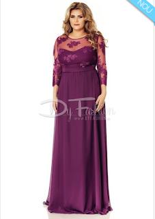 Cumpara aici rochia XXL de ocazie lunga-mov acum cu livrare in strainatate