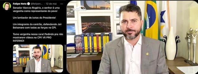"Youtuber anti-Bolsonaro dispara contra senador de Rondônia: ""vá para o inferno"""