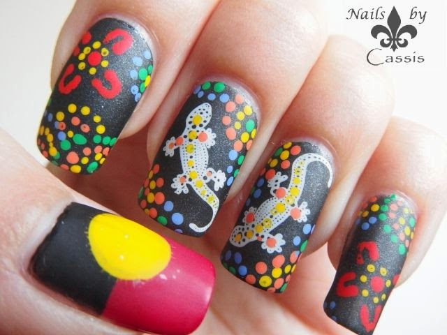 Aboriginal nail art using MoYou London Tourist plates ...