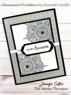Treasured Medallion bundle by Stampin' Up!.  Also uses the FREE designer paerp you can receive with the Starter Kit Jan 5-Feb 28, 2021.  Also used: Matte Black Dots & Silver Foil.  #StampinUp #StampTherapist #SaleABration