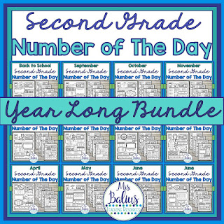 full year bundle of second grade number of the day activities