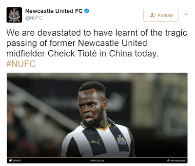 49 - Former Newcastle player, Cheick Tiote is Dead