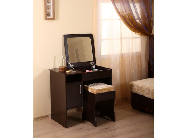 modern small dressing table with folding mirror