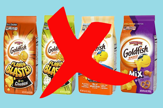 goldfish, goldfish recall, goldfish types, goldfish flavors, Flavor Blasted Sour Cream, goldfish onion, gold fish   blasted xtra cheddar, goldfish mix xtra cheddar,goldfish baked, Why don't the Goldfish recall?goldfish whole grain, xtra cheddar, mix