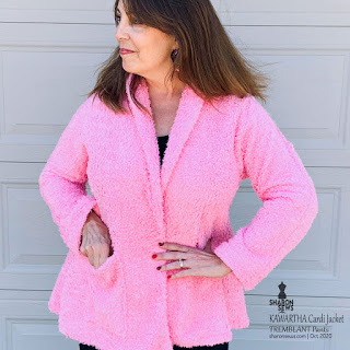 Kawartha Cardi Jacket in Pink Shearling Knit worn by Sharon Sews Close upKawartha Cardi Jacket in Pink Shearling Knit worn by Sharon Sews