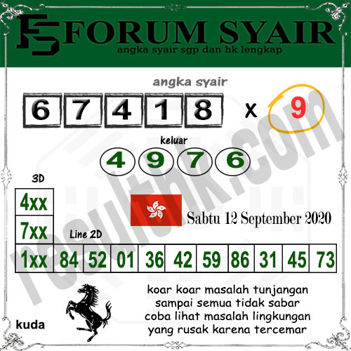 Forum syair hk Sabtu 12 September 2020