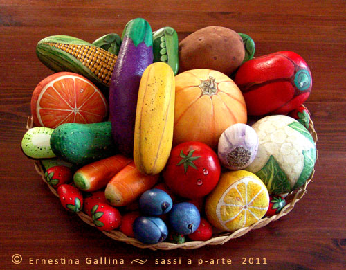 painted rocks that look like fruits and vegetables from Ernestina Gallina