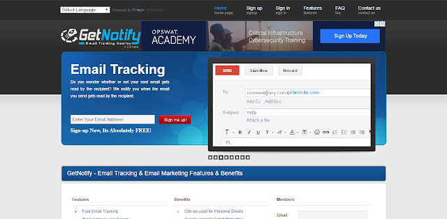 email tracking home page of get notify site