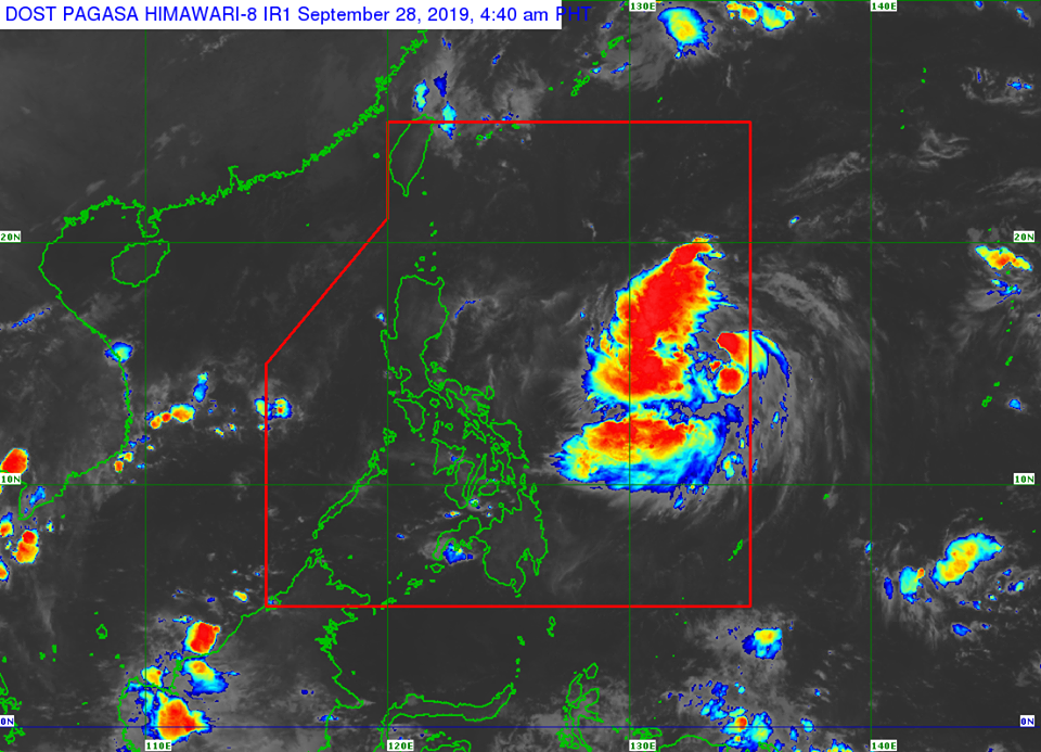 Satellite image of Tropical Depression 'Onyok' as of 4:40 am on Saturday, September 28