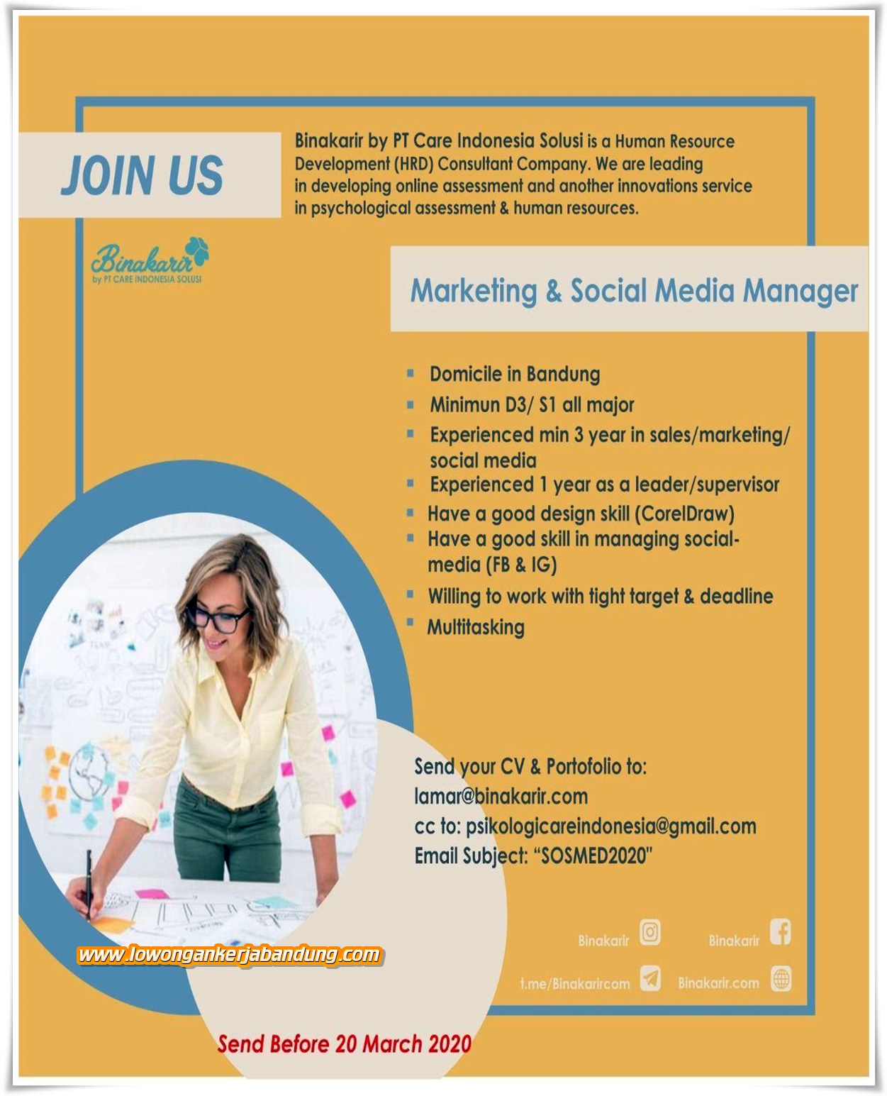 Loker Bandung Marketing Dan Social Media Manager