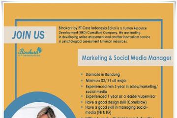 Lowongan Kerja Bandung Marketing & Social Media Manager