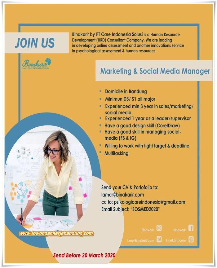 Loker Bandung Marketing Dan Social Media Manager