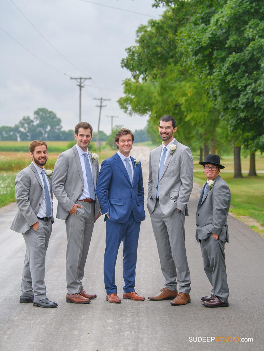 Rustic Farm Wedding Photography in Saline Dexter Groomsmen Grey suits blue suit by SudeepStudio.com Ann Arbor Wedding Photographer