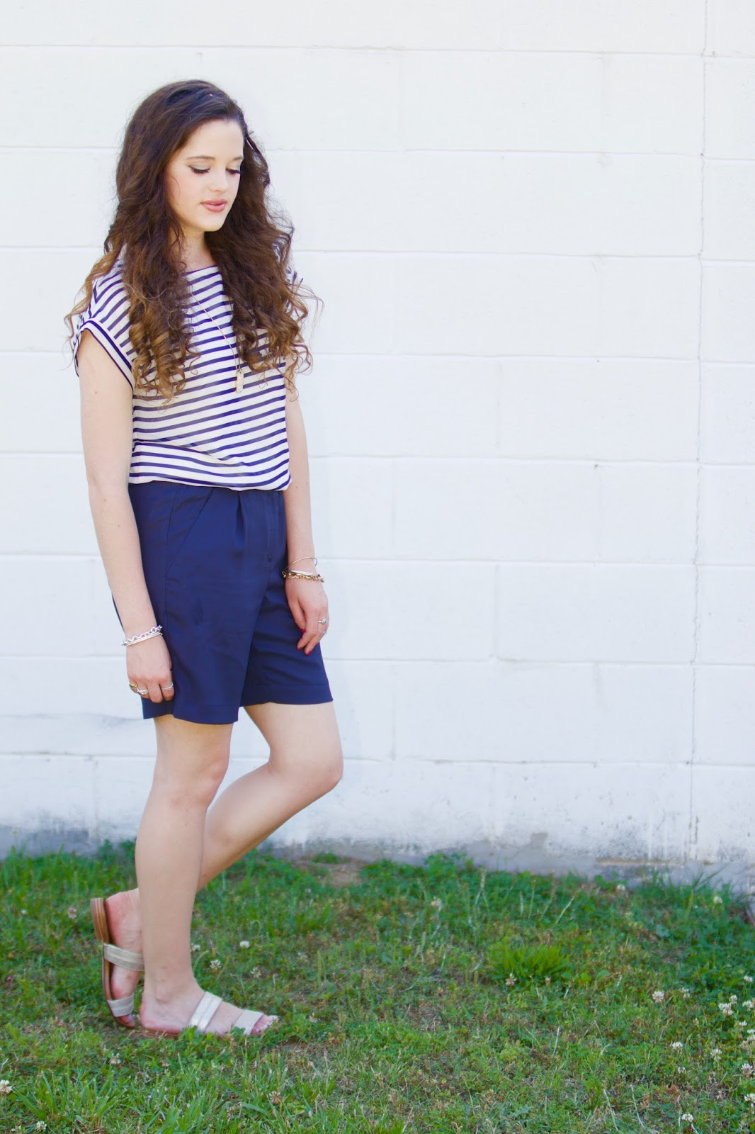 striped tee shorts