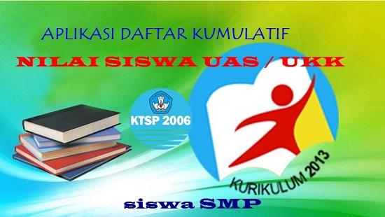 APLIKASI DAFTAR KUMULATIF NILAI SISWA UAS / UKK SISWA SMP