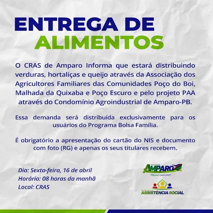 Assistência Social de Amparo fará mais uma doação de alimentos para usuários do Bolsa Família
