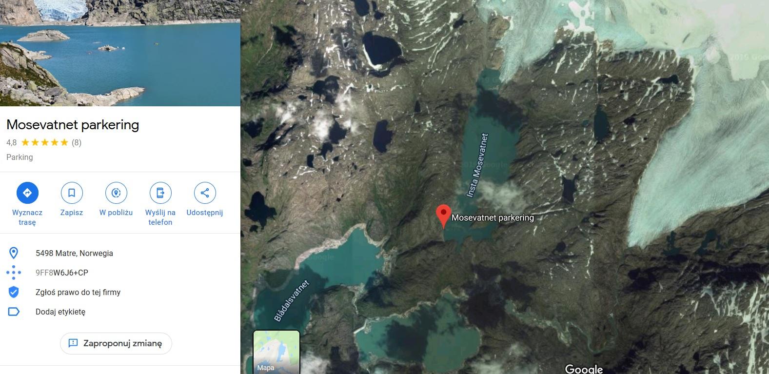 Parking lodowiec Folgefonna