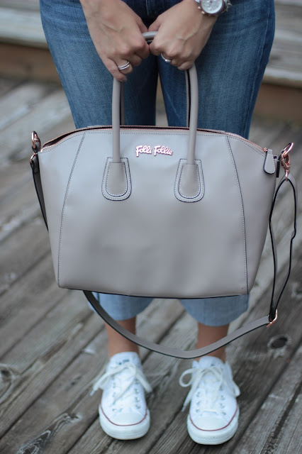 folli follie bag, folli follie purse, grey folli follie
