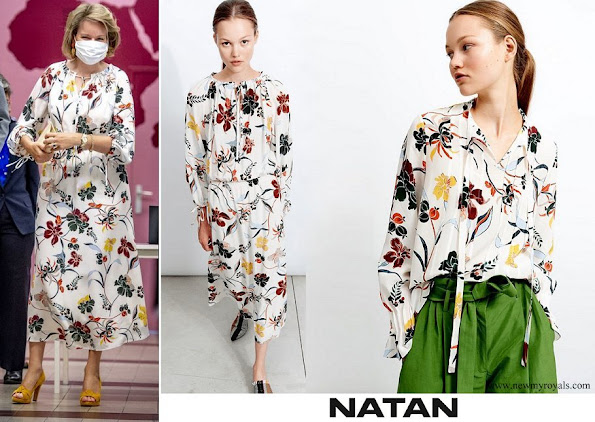 queen mathilde wore a Natan floral-print silk dress