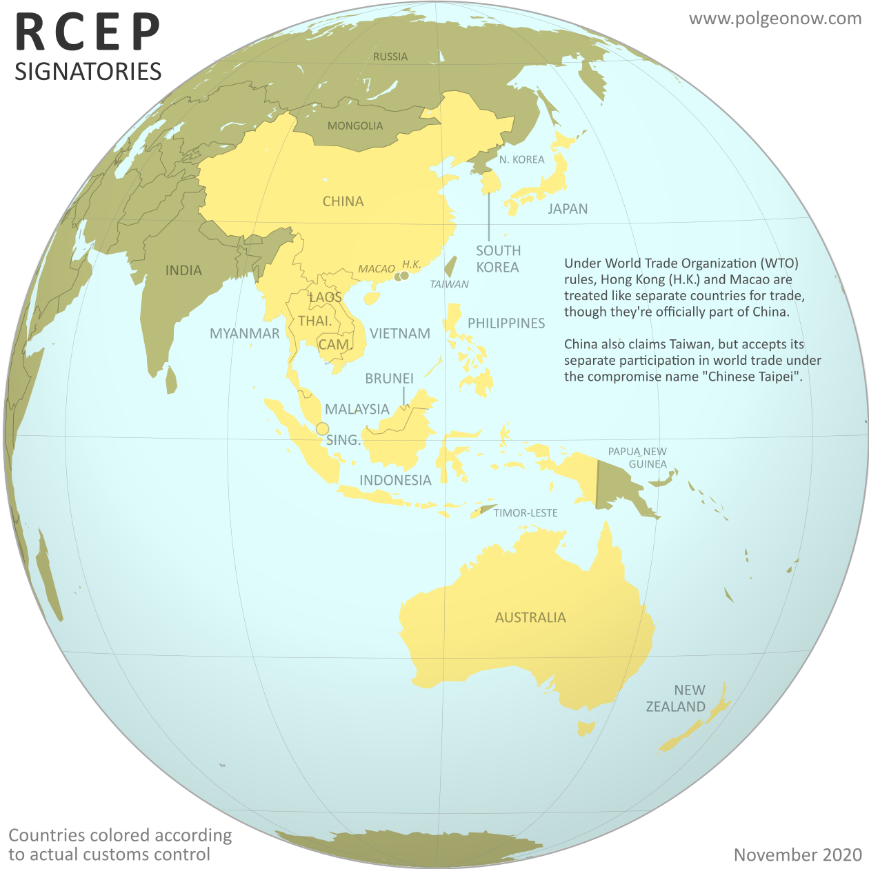 Globe-style map of which countries have signed the RCEP (Regional Comrehensive Economic Partnership) agreement (colorblind accessible).