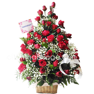 buket bunga meja surabaya elegan