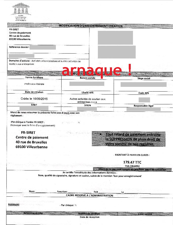 Arnaques Entrepreneurs Fr Siret Centre De Paiement Notification D