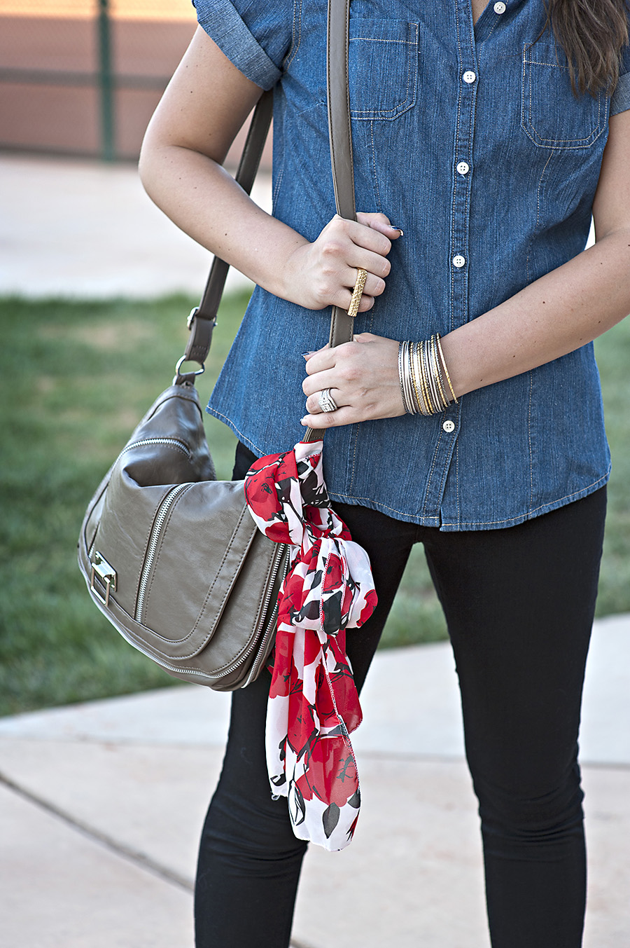Shoulder Purse, Jean Shirt, Button up shirt