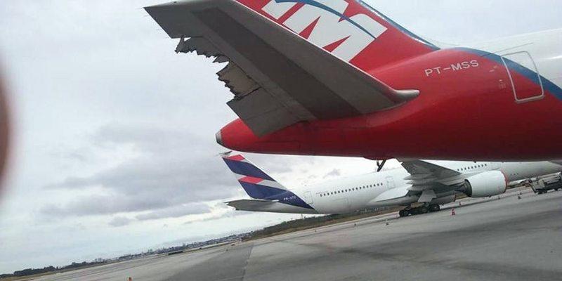 Dos aviones Latam chocaron en tierra