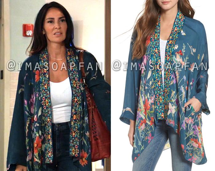 Harmony Miller, Inga Cadranel, Blue Floral Print Embroidered Kimono, General Hospital, GH