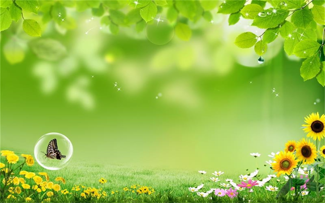 Green leaves and green grass PPT background