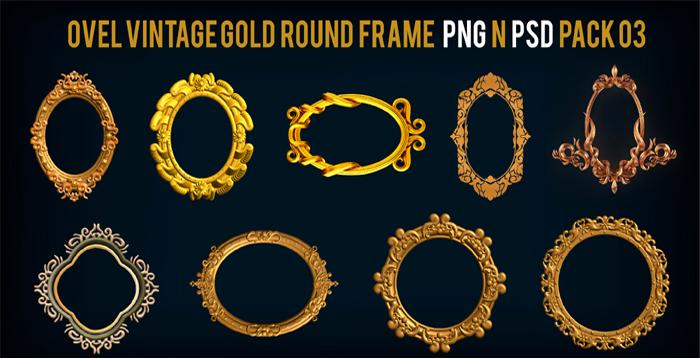 Ovel Vintage Gold Round Frame PNG n PSD Pack 03