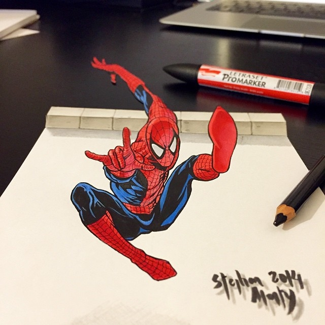 08-Spider-Man-Stephan-Moity-2D-Drawings-Optical-Illusions-made-to-Look-3D-www-designstack-co
